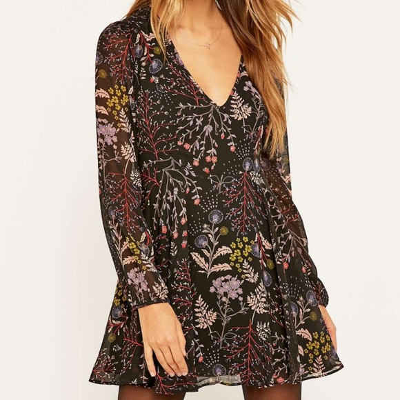 UO Urban Outfitters Mini Dress Floral Deep V 4 S